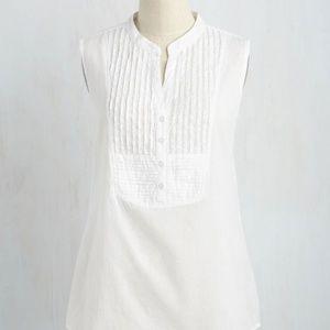 Modcloth White On Your Roam Time Sleeveless Tunic